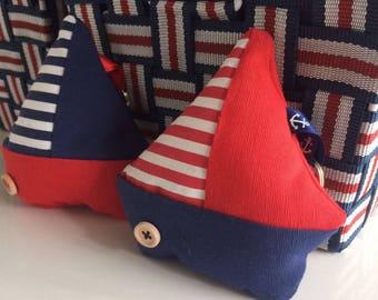 Boats fabric keychain