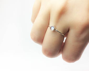 Sterling Silver Minimalist Ring with Moonstone • Hand Made Jewellery • June Birthstone • Abstract • Stackable
