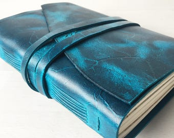 Personalised sketchbook, leather sketchbook, artist gifts, handbound A5 leather journal, turquoise blue leather anniversary gift