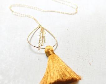 Tassel Necklace, Gold Tassel Necklace, Long Gold Chain Necklace, Teardrop Pedant, Long Silk Tassel Necklace
