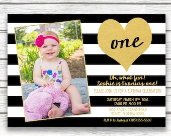 Black and White Stripe Birthday Invitation, First 1st Birthday Invitation Girl, Gold Heart Birthday Invitation, First Birthday Photo Invite