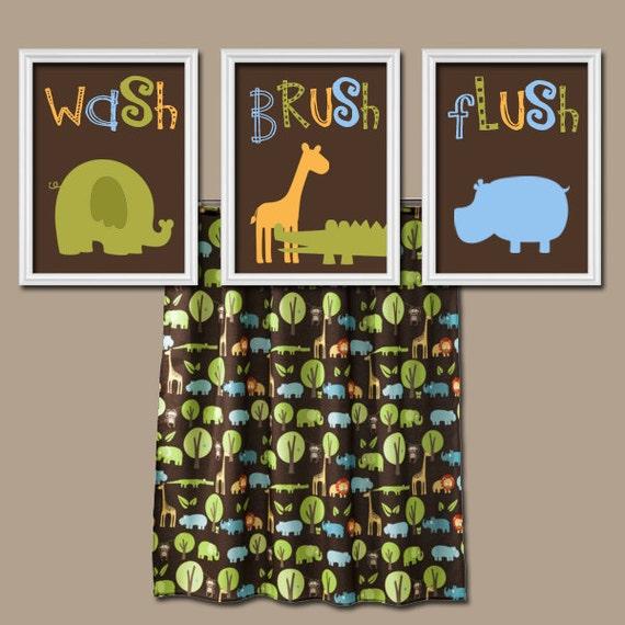 jungle animal bathroom wall art canvas or prints child kid. Black Bedroom Furniture Sets. Home Design Ideas