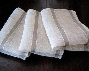 """Linen Napkin Natural White Gray set of 2 - Flax 18.1""""x13""""  size"""