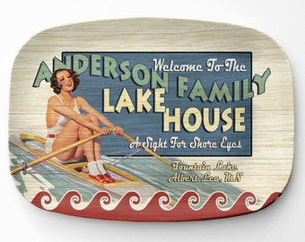 Lake House Platter, Personalized Lake Home Serving Platter, Melamine Platter, Personalized Serving Tray, Cabin Decor
