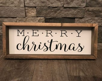 Merry Christmas Sign, Merry Christmas Wooden Sign, Merry Christmas Framed Sign, Holiday Decor, Christmas Decor, Farmhouse Holiday Decor