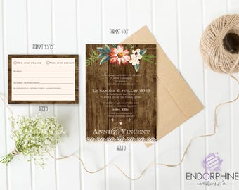 rustic printable wedding invitation. Invitation + RSVP card