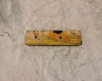 Old School Pencil Box - Vintage French School Wood Pencil Case - Papier Maché Plumier