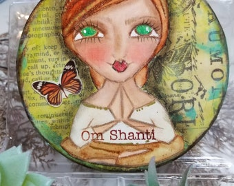 Om Shanti mixed media ORIGINAL art. Green eyes