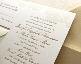The Vintage Floral Lace Suite - Formal Letterpress Wedding Invitation Sample, Ivory, Gold, White, Script, Classic, Traditional, Simple
