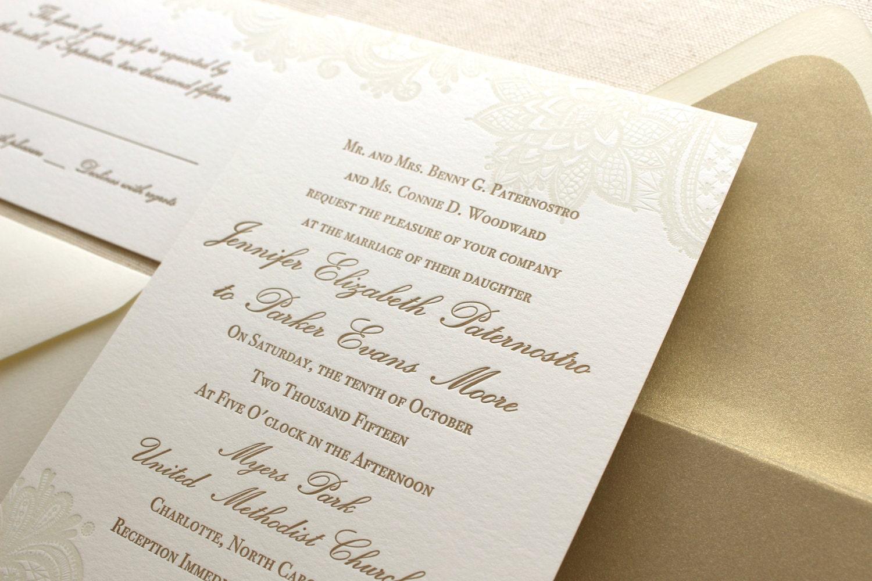 The Vintage Floral Lace Suite Formal Letterpress Wedding