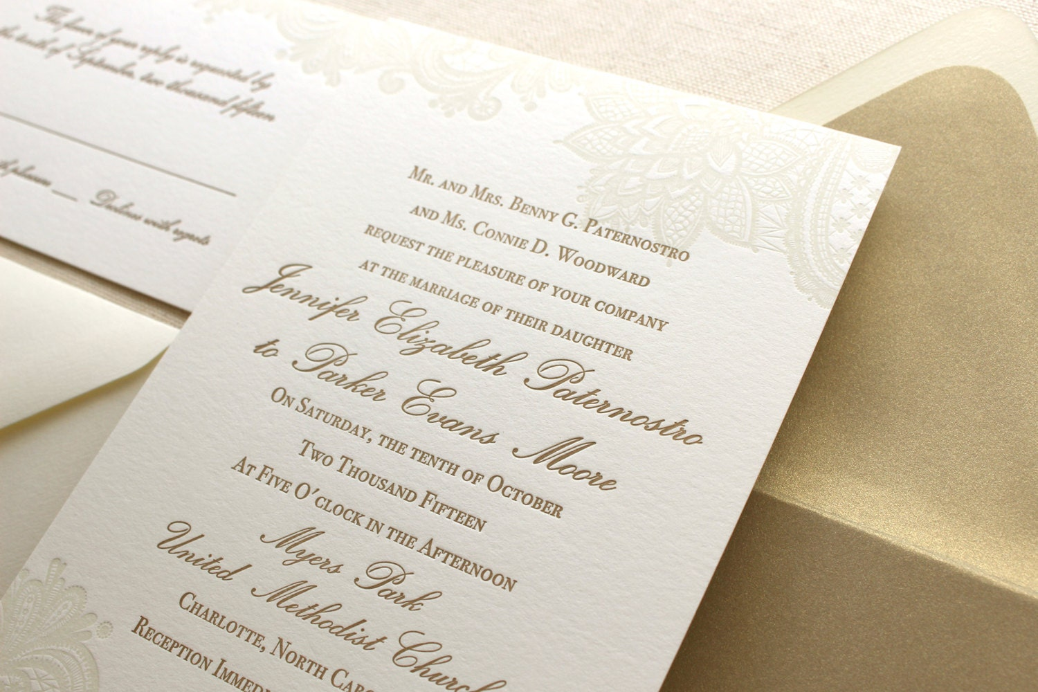 The Vintage Floral Lace Suite Formal Letterpress Wedding