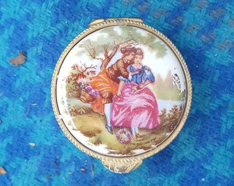 Vintage Ceramic And Gold Tone Metal Signed Italy Round Pill Box With Courting Couple Design
