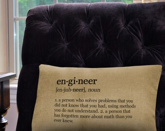 """Engineer Definition Pillow Cover - 12"""" x 18"""" - Zipper Enclosure - Machine Washable- Great Gift for Science Lovers"""