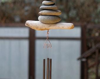 Wind Chime Driftwood Beach Stone Brass Chimes West Coast Garden Art