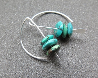 turquoise jewelry. small earrings. silver earings.