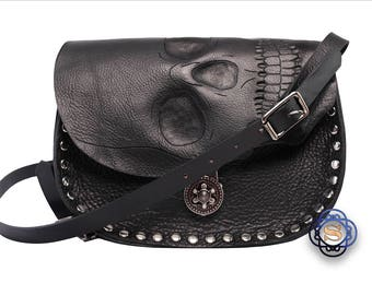Human skull purse, realistic human skull, biker bag, cross body bag, skull cross body purse, black skull bag, black leather cross body bag