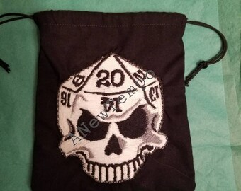 Custom dice bag with d20 skull patch. Drawstring bag.