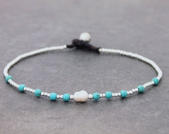 Turquoise Pearl Beaded Anklets, Stone Beaded Silver Ankle Bracelets, Minimal Anklet Cute Petite Gift For Women