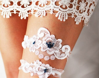 Wedding Garter - Bridal Garter - Lace Garter Navy Blue Garter - Vintage Inspired Garter - Rustic Garter Boho Garter Set Toss Garter