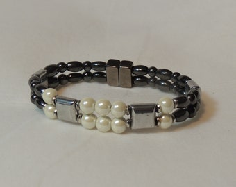 Pearl, Silver, and Magnetic Hematite Double Bracelet