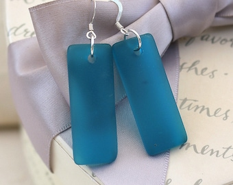 Recycled Blue Glass earrings with Sterling earwires