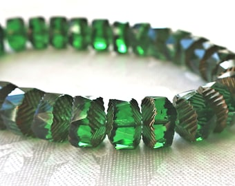 Lot of 6 Czech glass faceted wavy rondelle beads, large 14 x 6mm Emerald Green with gold accents, chunky rondelles, focal beads  C36101