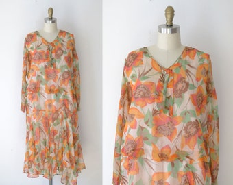 1920s Dress / 20s Floral Chiffon Dress