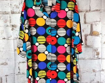 Vintage 90s Cabrais Funky Colorful Short Sleeve Rayon Shirt- Women's Plus Size 22