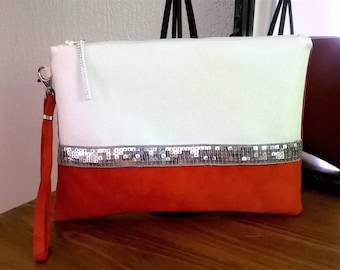 LARGE POUCH orange suede and faux glittery swarovski gift mother
