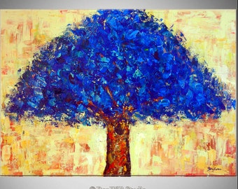 LARGE Tree Oil Painting ORIGINAL Artwork - Blue Tree Art - Ready to Hang  by BenWill