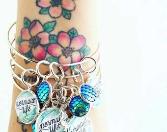 mermaid life beach summer vacation bangle bracelet jewlery for her gift