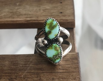 Seaweed, double turquoise ring, turquoise ring, american mined turquoise, american turquoise, dainty turquoise ring