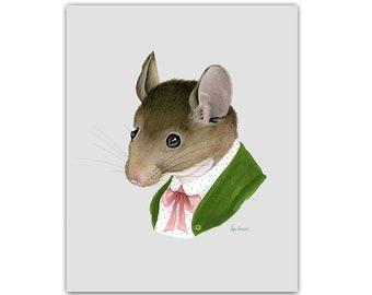 Mouse Lady print 5x7 - Animal art - Kid's Room Decor - Nursery Art - Dapper Animals - Storybook Art - Ryan Berkley - Berkley Illustration