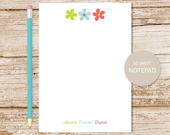 personalized flowers notepad. daisy trio notepad . daisies note pad . colorful flowers . girls stationery