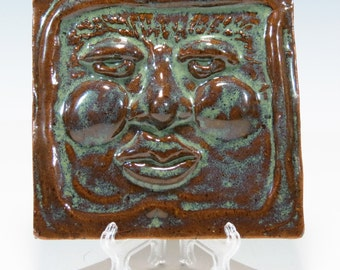 Hand Built Ceramic Face Tile Pottery Face Tile Garden Face Tile Ceramic Tile Pottery Tile
