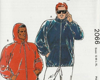 """Kwik Sew 2066 Mens Jacket or Hoodie Full Zip Front windcheater kangaroo pockets with zip Size S M L XL Chest 34-48"""" uncut sewing pattern"""