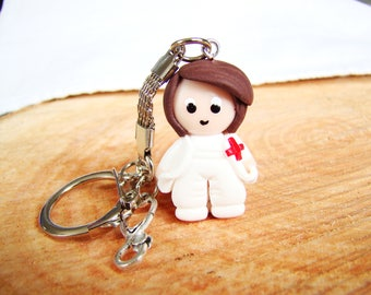 gift for nurse aid caregiver EMT - key figure in polymer clay white blouse - Red Cross Hospital