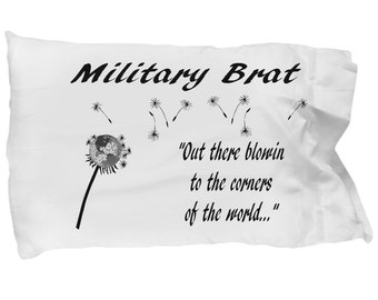 Military brat blowing pillow case