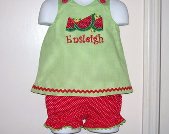 Watermelon Applique Monogram A-line Top and Bloomers Set Great for Summer Picnic or Festival