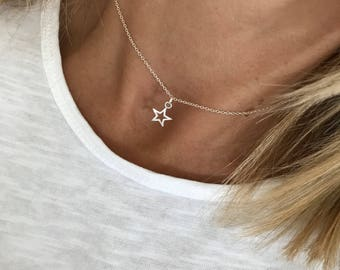 Sterling Silver Open Star Necklace/Silver Star Necklace/Necklace/Sterling Silver/Choker/Short Chain/Delicate/Star Charm/Gift/uk