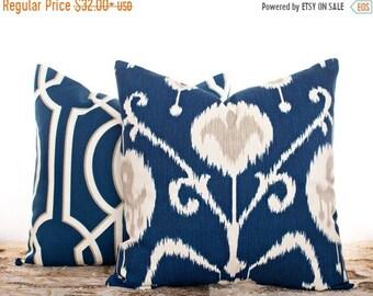 SALE ENDS SOON Navy Ikat Pillow, Navy Throw Pillow Covers, Art Deco, Ikat Pillows, Blue Cushion Covers, Sofa Pillows, Pillowcases