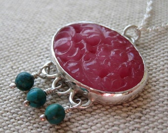 Dahlia Necklace - Sterling Silver, Vintage Pink Glass Floral Cabochon and Turquoise