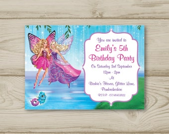 Barbie Fairy Birthday Party Invitations Personalised