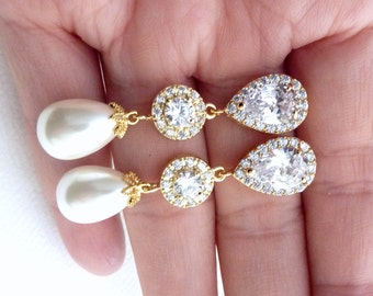Bridal Earrings Yellow Gold White Teardrop Pearl Halo Round Cubic Zirconia Peardrop CZ Post Wedding Earring