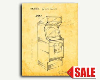 Patent Print - Video Game Cabinet Patent Wall Art Poster