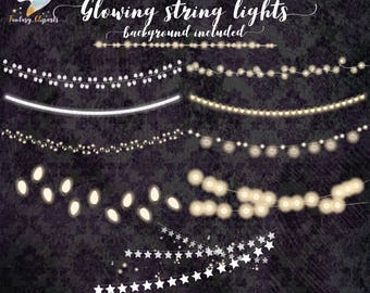 String lights, christmas lights, lights of strings, fairy lights, glowing lights, lights clipart, wedding lights, party decor, birthday invi