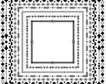 simple black frame png. INSTANT DOWNLOAD-Digital Scrapbook, Blog Page, Facebook Border Frame Simple Shapes Geometric Large PNG Black Png