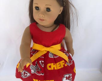 18 inch doll dress made of KC Chiefs fabric, made to fit 18 inch dolls such as American Girl Dolls and others