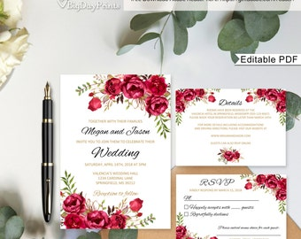 Red wedding invites Etsy