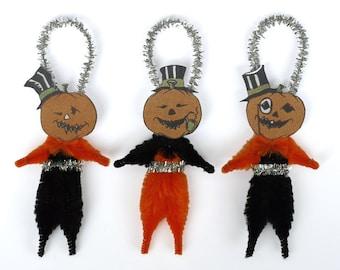 Halloween Folk Art Chenille Ornaments - Handmade Halloween Ornaments